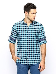 Cherokee Men Blue Checked Casual Shirt
