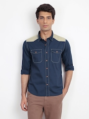 Cherokee Men Navy Slim Fit Casual Shirt