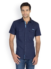 Chewingum Men Navy Blue Casual Shirt
