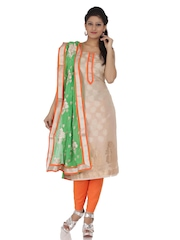 Chhabra 555 Beige & Orange Brasso Dress Material