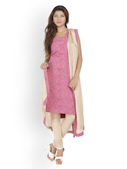 Chhabra 555 Pink & Beige Synthetic Unstitched Dress Material