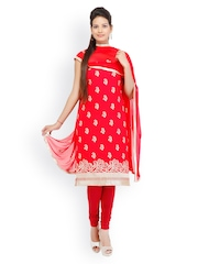 Chhabra 555 Red Crepe Unstitched Dress Material