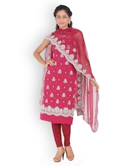 Chhabra 555 Pink Embroidered Crepe Unstitched Dress Material