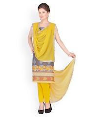Chhabra 555 Grey & Yellow Chanderi Unstitched Dress Material