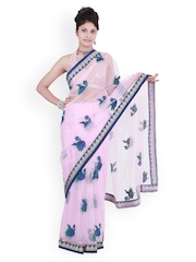 Light Pink Embroidered Net Fashion Saree Chhabra 555
