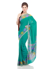 Chhabra 555 Green Printed Chiffon Fashion Saree