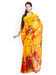 Chhabra 555 Yellow Art Georgette Printed Saree