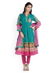 Chhabra 555 Green & Magenta Embroidered Nylon & Net Anarkali Churidar Kurta With Dupatta
