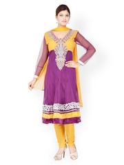 Chhabra 555 Women Purple & Yellow Embroidered Net Churidar Kurta with Dupatta