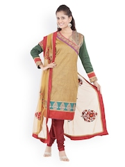 Women Brown & Maroon Printed Chanderi Cotton Churidar Kurta With Dupatta Chhabra 555
