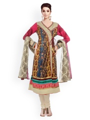 Women Multicoloured Printed Cotton Churidar Kurta With Dupatta Chhabra 555