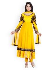 Chhabra 555 Yellow Embroidered Net Anarkali Churidar Kurta with Dupatta