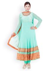Chhabra 555 Women Green Embroidered Net Anarkali Churidar Kurta with Dupatta