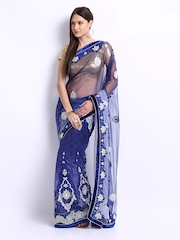 Chirag Blue Embroidered Net One Minute Saree