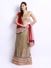 Chirag Women Green & Red Brocade Lehenga Choli