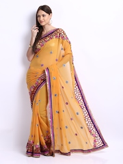 Chirag Yellow Embroidered Chiffon Fashion Saree