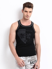 Chromozome Men Black Insignia Innerwear Vest 5954