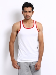 Chromzome Men White & Navy Tri Innerwear Vest TE-01