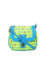 Chumbak Fluorescent Green & Blue Tree Printed Sling Bag
