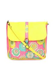Chumbak Pink & Yellow Umbrella Printed Sling Bag