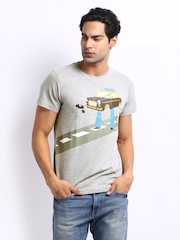 Chumbak Men Grey Melange Taxi Print T-shirt