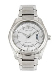 Citizen Men Silver Toned Dial Eco-Drive Watch