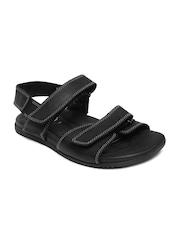 Clarks Men Black Worthy Sky Leather Sandals