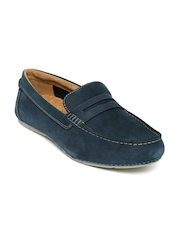 Clarks Men Navy Leather Loafers