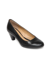 Clarks Women Black Denny Mellow Leather Heeled Shoes