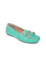Clarks Women Teal Green Leather Boat Shoes