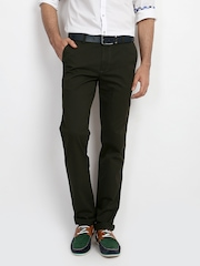 Classic Polo Men Olive Green Slim Fit Trousers