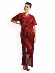 Clovia Maroon Nightdress Set NSM236G09O