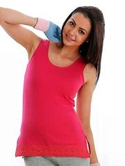 Cloe Women Pink Thermal Tank Top