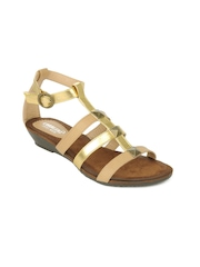 Cobblerz Women Gold Toned & Beige Sandals