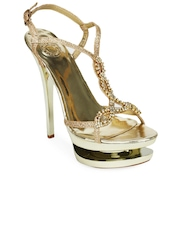 Cobblerz Women Gold Toned Stone Studded Stilettos
