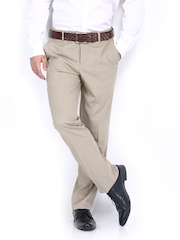 Code Men Beige & White Checked Slim Fit Formal Trousers