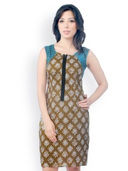 Co.in Green Printed Sheath Dress