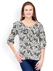Color Cocktail Women Grey Printed Top