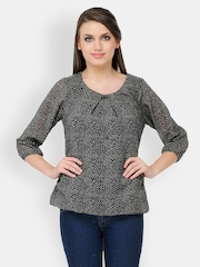 Color Cocktail Women Black & White Printed Top