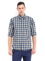 ColorPlus Men Blue & Green Checked Tailored Fit Smart Casual Shirt