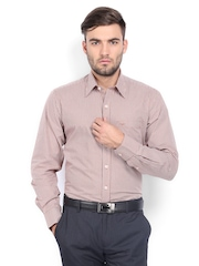 ColorPlus Men Rust Orange & Brown Checked Tailored Fit Smart Casual Shirt