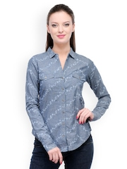 Colors Couture Women Blue Embroidered Denim Shirt