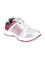 Columbus Men Grey & Maroon Sports Shoes