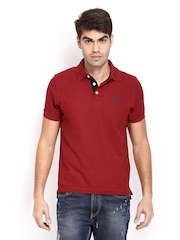 Converse Men Maroon Polo T-shirt
