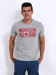 Converse Men Grey Melange Printed T-shirt
