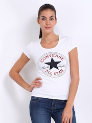 Converse Women White Printed T-shirt