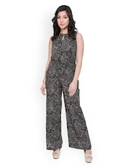 Cottinfab Women Black Printed Jumpsuit