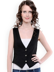 Cottinfab Women Black Waistcoat