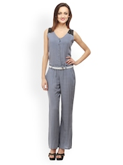 Cottinfab Women Blue Printed Jumpsuit