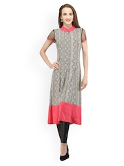 Cottinfab Women Black Printed Kurta